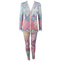 UNGARO Silk Printed Jersey Set with Leggings and Blouse Enamel Buttons Size 4 6