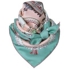 Hermes Silk Scarf Paperoles Horses Claudia Mayr Green Pink 90 cm