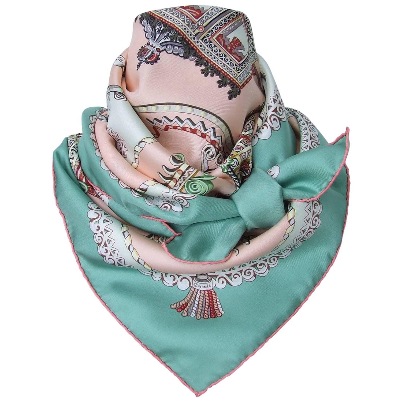 Hermes Silk Scarf Paperoles Horses Claudia Mayr Green Pink ...