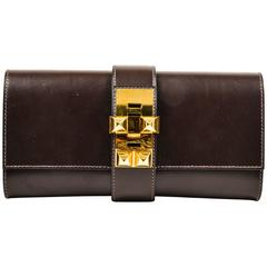 "Hermes Dark Brown Box Calf Leather Gold Tone Hardware ""Medor"" Clutch"