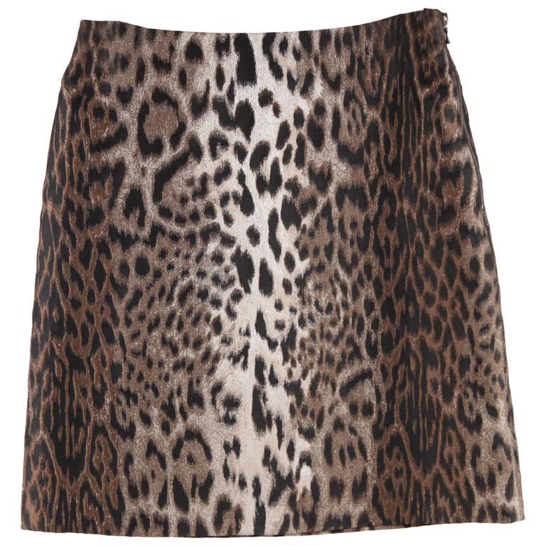 LANVIN Leopard Silk Blend SKIRT Hiver WINTER 2004 Size 38 1