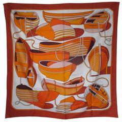 "orange hermes ""thalassa"" boats printed scarf"