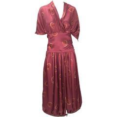 Gorgeous 1970s Marina Ferrari Silk Multicolored Circle Print Wrap Dress