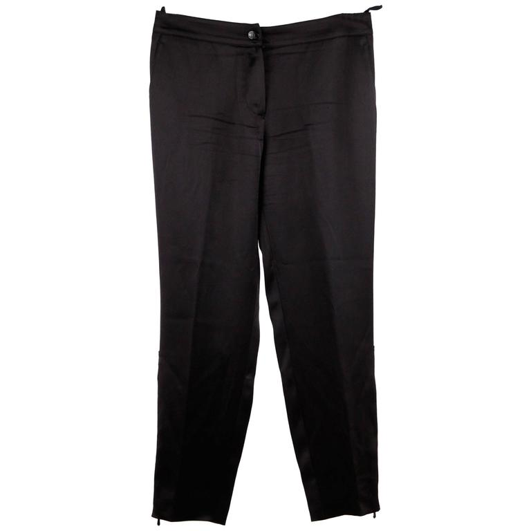 CHANEL Black Pure Silk PANTS Trousers w/ ZIP Detail SIZE 36