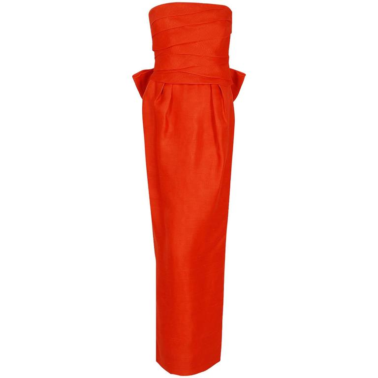 1983 Christian Dior Haute-Couture Orange Strapless Pleated Silk Hourglass Gown 1