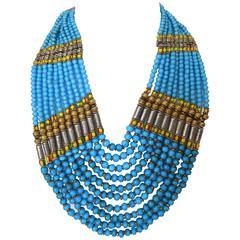 Rare Masha Archer Bib Oval Collar Necklace