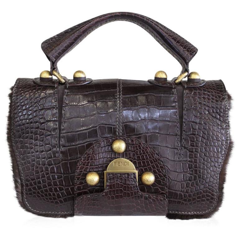 Fendi Rare Secret Code 8BN199 Brown Alligator & Mink Satchel Handbag Purse 1