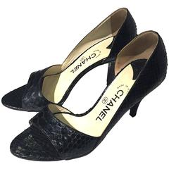 90s Chanel snake leather peep toes in black, Sz 8