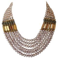 Masha Archer 6 Strand Rose Pearl Collar Necklace