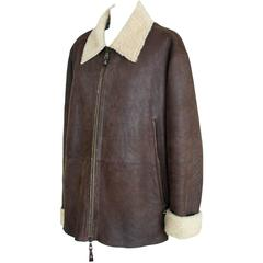HENRY BEGUELIN Men's Distressed Shearling Jacket  52