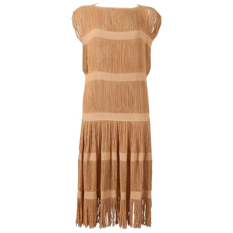 fringed panelled linen flapper dress, c. 1920s For Sale