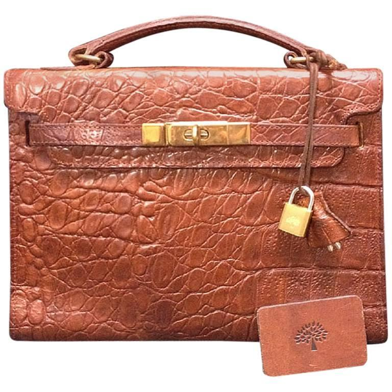 Vintage Mulberry croc embossed brown leather Kelly bag. Designed by Roger Saul