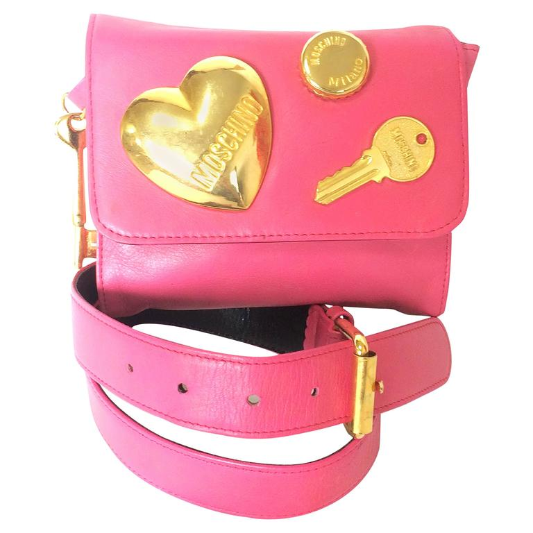Vintage MOSCHINO pink leather waist purse, fanny bag ...