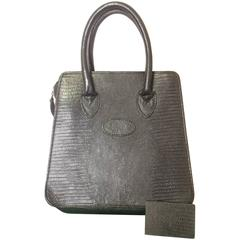 Vintage Mulberry lizard embossed black leather mini tote bag. By Roger Saul
