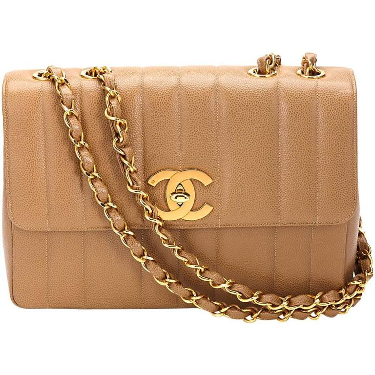 1990s Chanel Tan Vertical Quilted Caviar Leather Vintage Jumbo Xl Flap Bag For