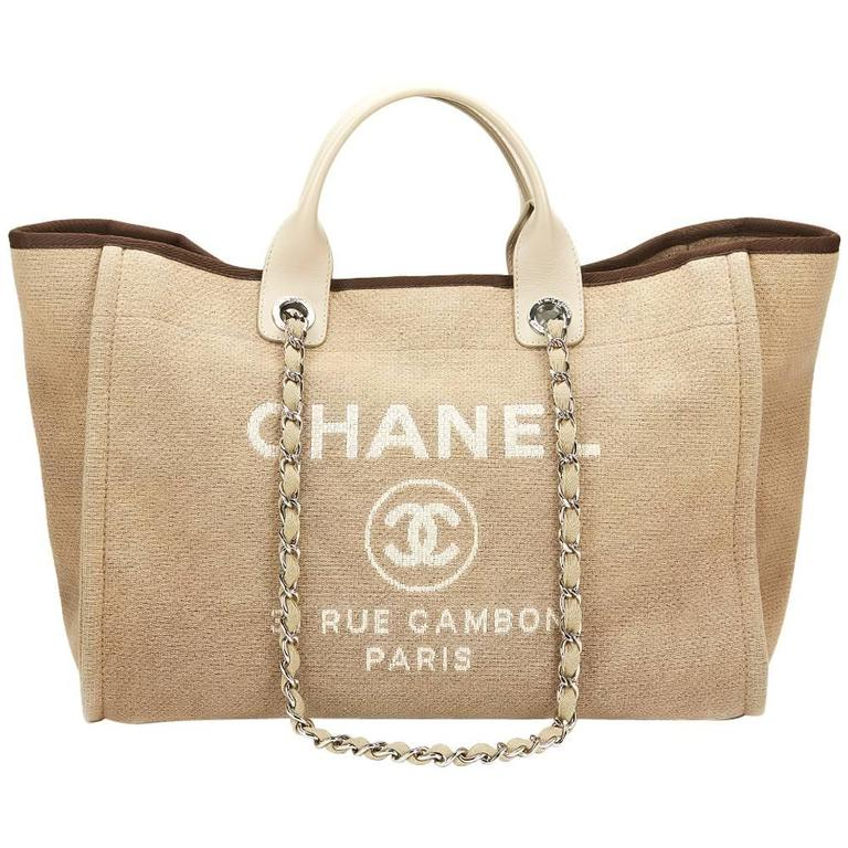 2013 Chanel Beige Canvas Large Deauville Tote At 1stdibs