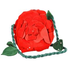 Vintage Emanuel Ungaro Green/Red/Black Rhinestone Detail Fabric Rose Purse