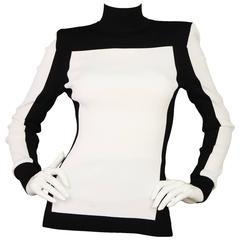 Balmain x H&M Black and White Long Sleeve Turtleneck with Zipper Sz 6