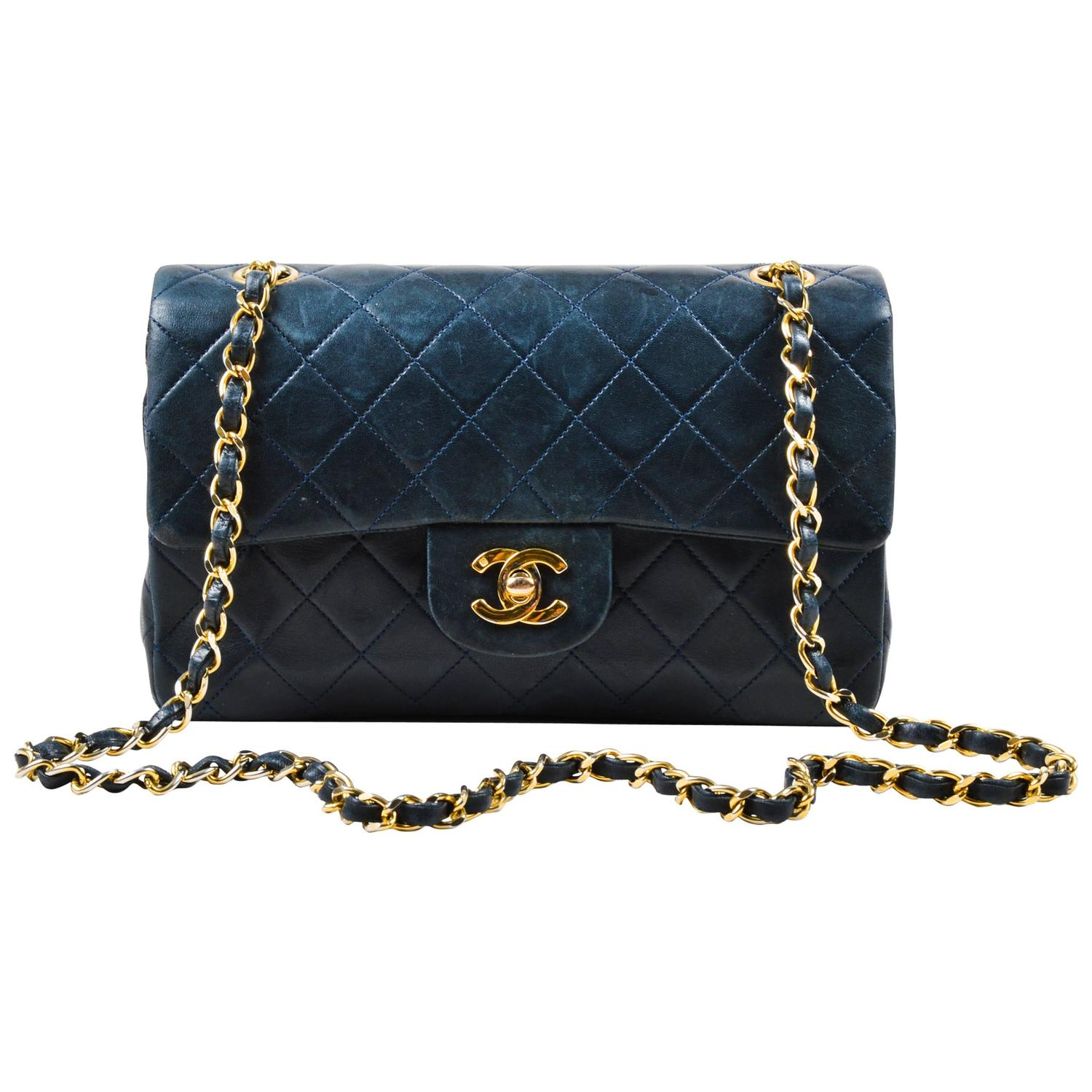 Vintage Chanel Navy Blue Gold Tone Chain Strap Quot Small