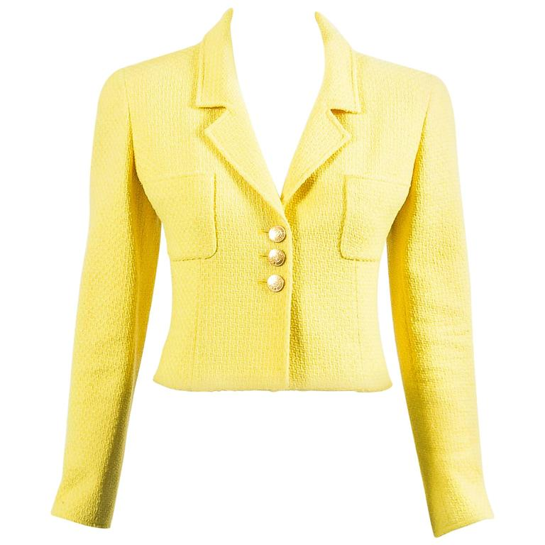 Vintage Chanel Boutique Yellow Tweed 'CC' Button Cropped Structured Jacket 1