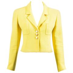 Vintage Chanel Boutique Yellow Tweed 'CC' Button Cropped Structured Jacket