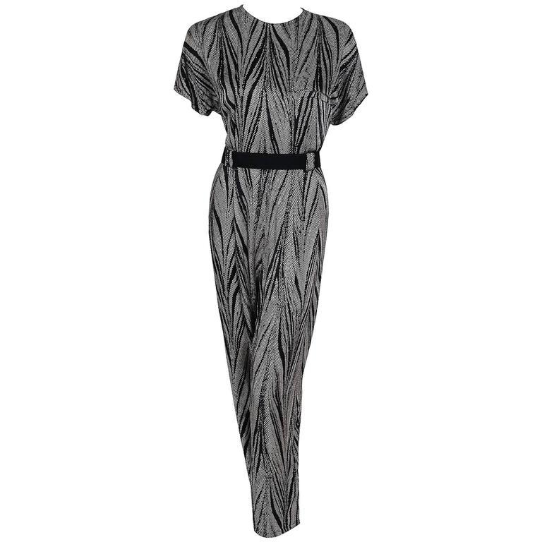 1989 Gianni Versace Black And Ivory Zebra Stripe Print