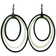 Edwardian Lampwork Glass Long Hoop Earrings