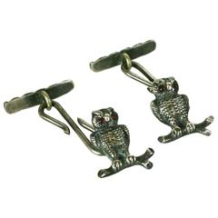 Victorian Figural Sterling Silver Wise Owl Cufflinks