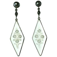 Art Deco Reverse Crystal and Marcasite Earrings