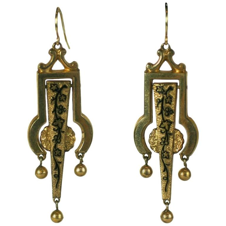 Victorian Articulated Enamel Drop Earrings 1