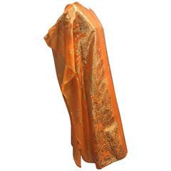 1960s Marigold Lamé Brocade Synthetic Silk Caftan w Lining