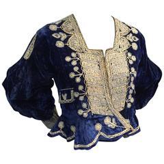 1930s Bolivian Saphire Blue Velvet Jacket w Elaborate Folk Embroidery