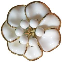 1950s TRIFARI Poured Milk Glass Bezel Set Circular Petalled Flower Pin Brooch