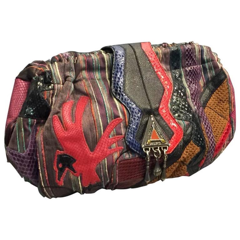 1980s Sharif Multicolored Brocade Clutch Bag W Snakeskin Liqués For
