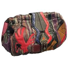 1980s Sharif Multicolored Brocade Clutch Bag w Snakeskin Appliqués