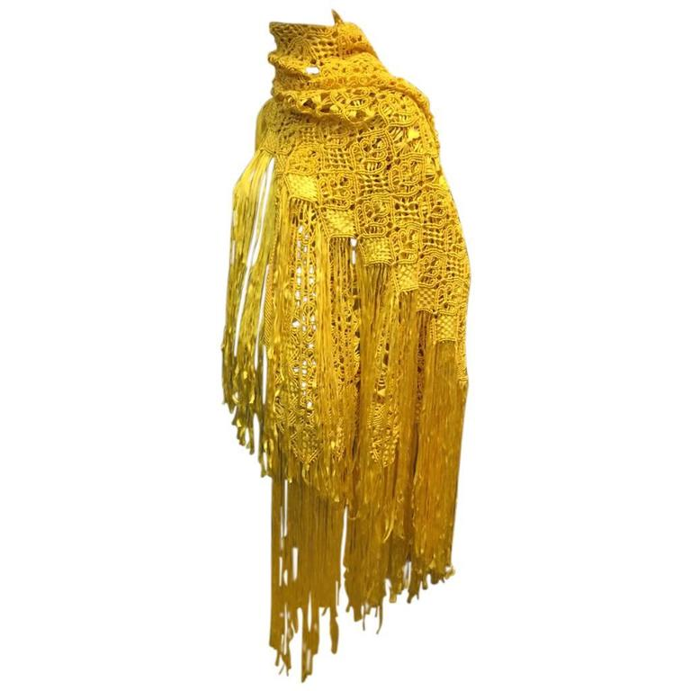 1970s Canary Yellow Macramé Silk and Rayon Ribbon Fringed Shawl