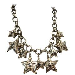 Escada 1980s Chrome Star and Chain Bib Necklace