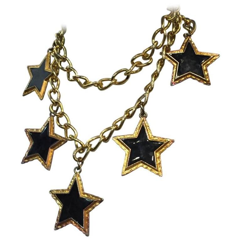 Escada 1980s Dramatic Black Enameled Star and Chain Necklace or Belt 1