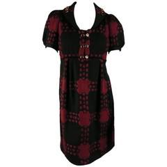 GUCCI Size 4 Black & Burgundy Plaid Wool Knit Short Puff Sleeve Dress