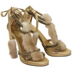 Gucci Tom Ford Crystal, Snakeskin and Mink Fur Sandals Gold 7.5