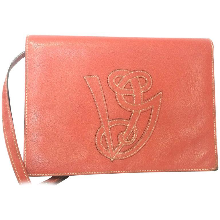 Vintage Valentino Garavani red pigskin shoulder clutch bag with logo stitch mark
