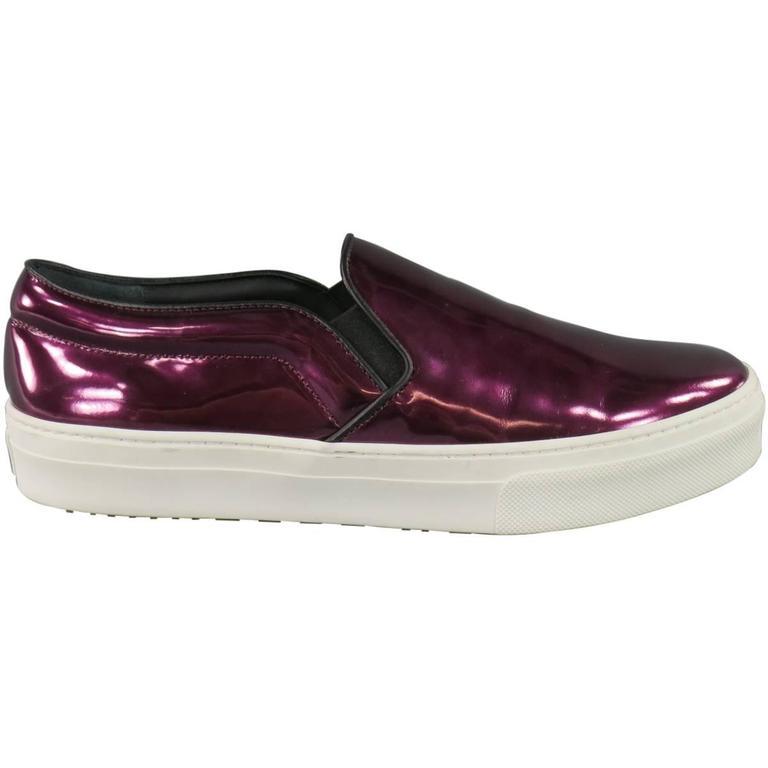 New CELINE Size 10.5 Purple Metallic Leather Slip On Sneakers