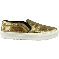 CELINE Size 10 Metallic Gold Crackle Leather Slip On Sneakers