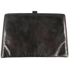 Vintage BOTTEGA VENETA Black Leather Lock Clutch with Mirror