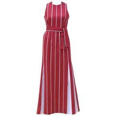 C.1970 Rodrigues Red & White Polka Dot Striped Maxi Dress