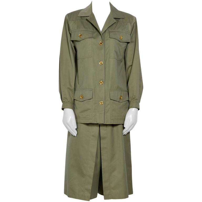 Celine Vintage 70's Khaki Safari Jacket & Jupe Culotte For Sale