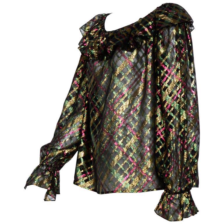 """1970s Yves Saint Laurent """"Rive Gauche"""" Important Silk Metallic Blouse   For Sale"""