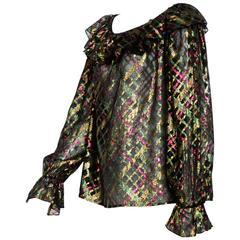 "1970s Yves Saint Laurent ""Rive Gauche"" Important Silk Metallic Blouse"