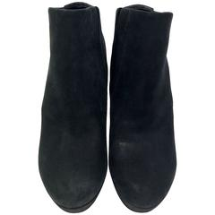 Balenciaga Black Leather Wedge Bootie