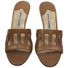 Manolo Blahnik Tan Slide with Rectangular Cutouts